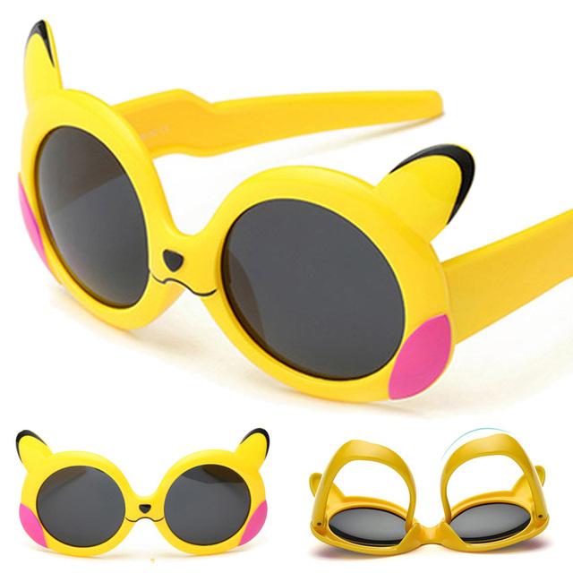 Мода Поляризованные Очки На Открытом Воздухе Pikachu Формы Милый Ребенок Девушки Дети Солнцезащитные Очки Стекло Дети Goggle Очки Óculos SKT1644