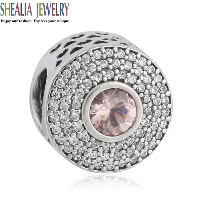 Pave CZ Round Charm Beads Fits Pandora Bracelets 925 Sterling Silver Pink Crystal Radiant Splendor Bead Diy Autumn Fine Jewelry(China (Mainland))