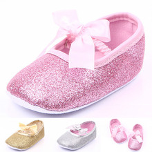The New Glitter Bow Princess Girls Shoes Baby Infant Shoes Comfortable Soft-soled Shoes Gold Silver Pink, Sweet and Cute Fashion(China (Mainland))