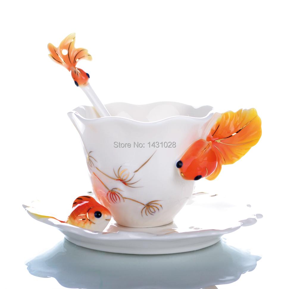 Hot enamel Porcelain Tea Cup Ceramic Goldfish Creative