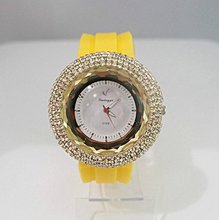 holiday sale Good Price Good Quality Yellow Silicon Shinning Crystal women ladies quartz Jelly Watch #w01682-5(China (Mainland))