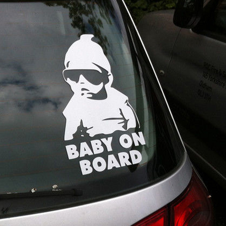 Funny Baby On Board Warning Decal Vinyl Car Sticker Black Reflective Waterproof Car Styling Car Window