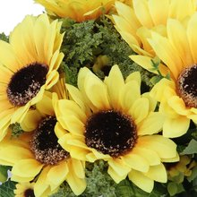 1 x Artificial Sunflower Plant with 18 Flower Heads Home Decoration--Yellow and Green(China (Mainland))