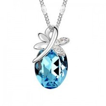 Best selling Austrian crystal jewelry fashion dragonfly pendant crystal necklaces for women silver plated jewelry necklace