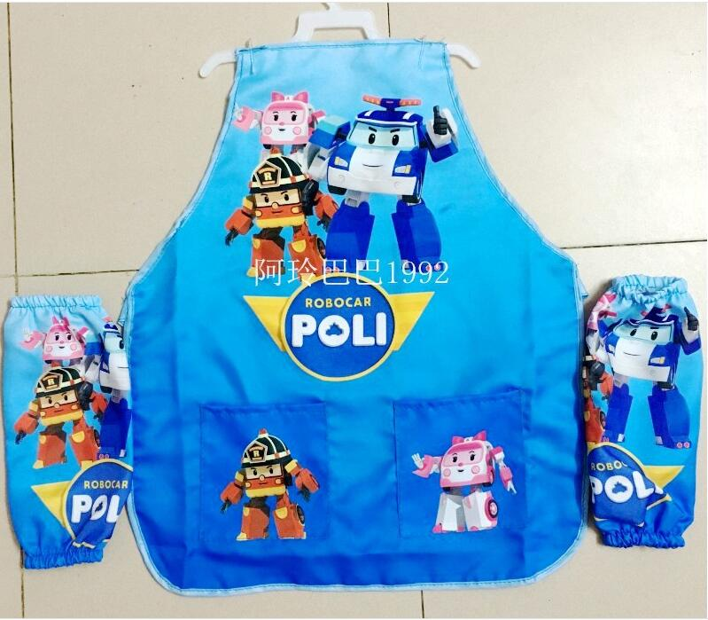 2016 Children's ROBOCAR POLI waterproof apron, students drawing clothes Aprons set (Apron + oversleeve) Kids aprons(China (Mainland))