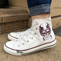Wen Canvas Shoes Design harley Davidson Style Skull High Top Men Women s White Casual Shoes