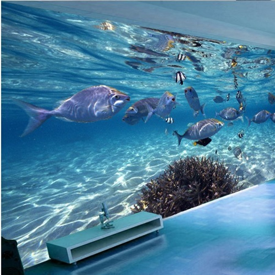 Custom photo wallpaper 3D papel parede underwater world of marine fish living children's room TV background 3d mural wall paper(China (Mainland))