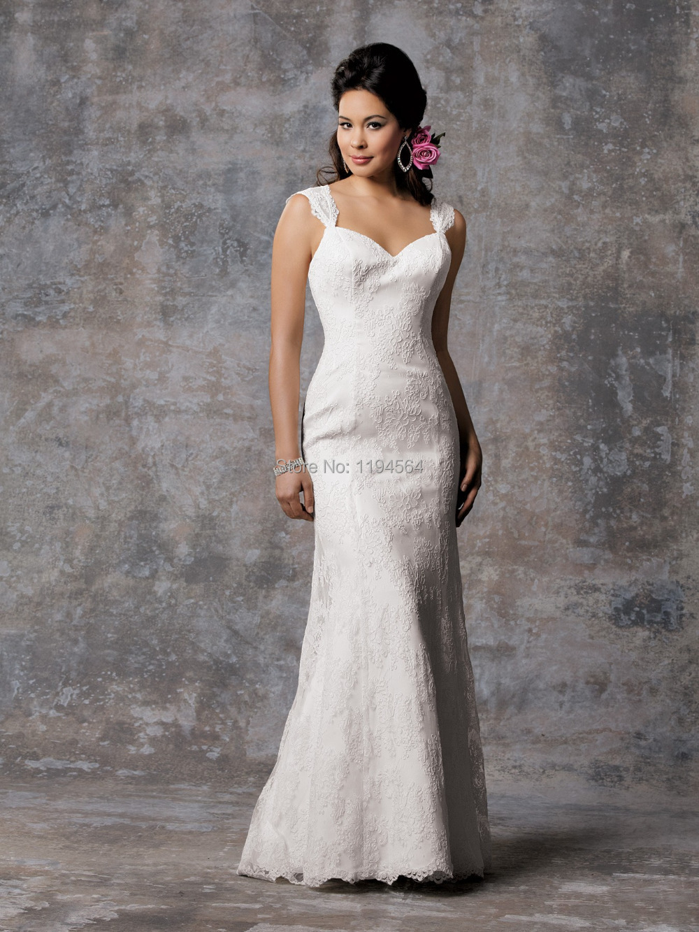 Free shipping 2014 lace wedding dresses a line bridal for Wedding dress no train