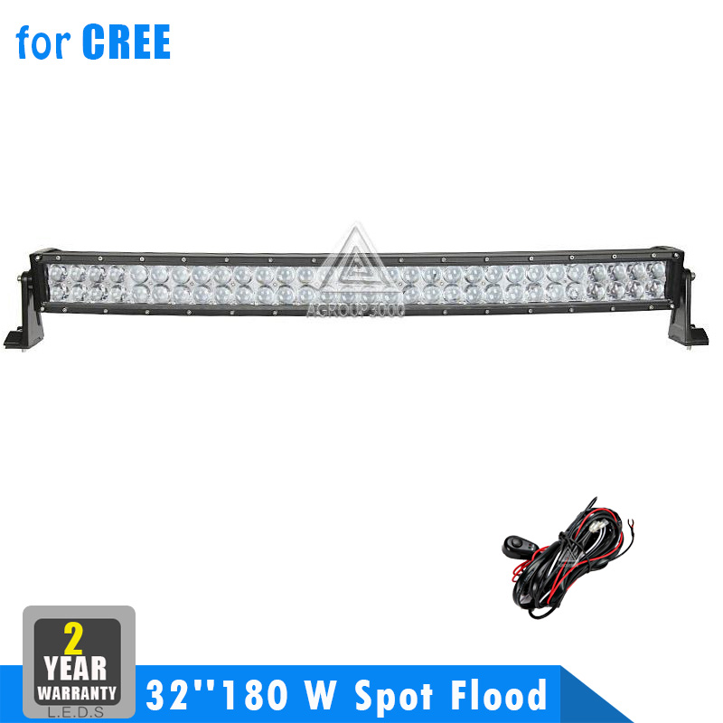 32 Inch 180W Cree Curved LED Work Light Bar Spot Flood Lamp Combo Car 4WD ATV Trailer 4X4 Truck Off Road Auxiliary Driving Light(China (Mainland))