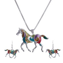 Top Jewelry Accessories Banquet Enamel Jewelry Set Horse Colorful Pendants Collar Fine Vintage Dangle Earrings for Wedding (China (Mainland))