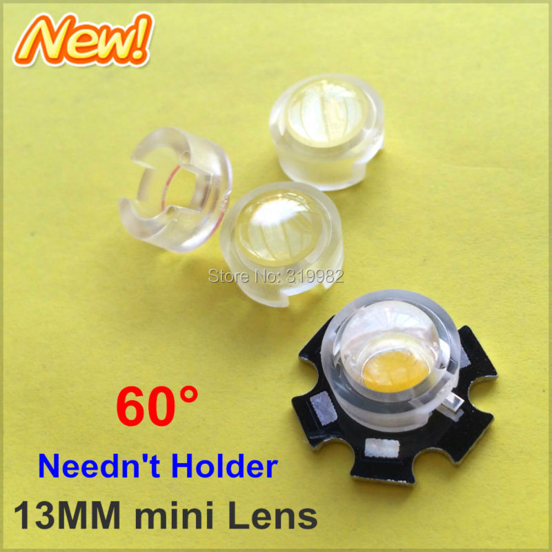 100pcs 13mm IR LED mini Lens 60 Degree Needn't Holder 1W 3W 5W Infrared monitoring Power LED Diode Reflector Collimator Acrylic