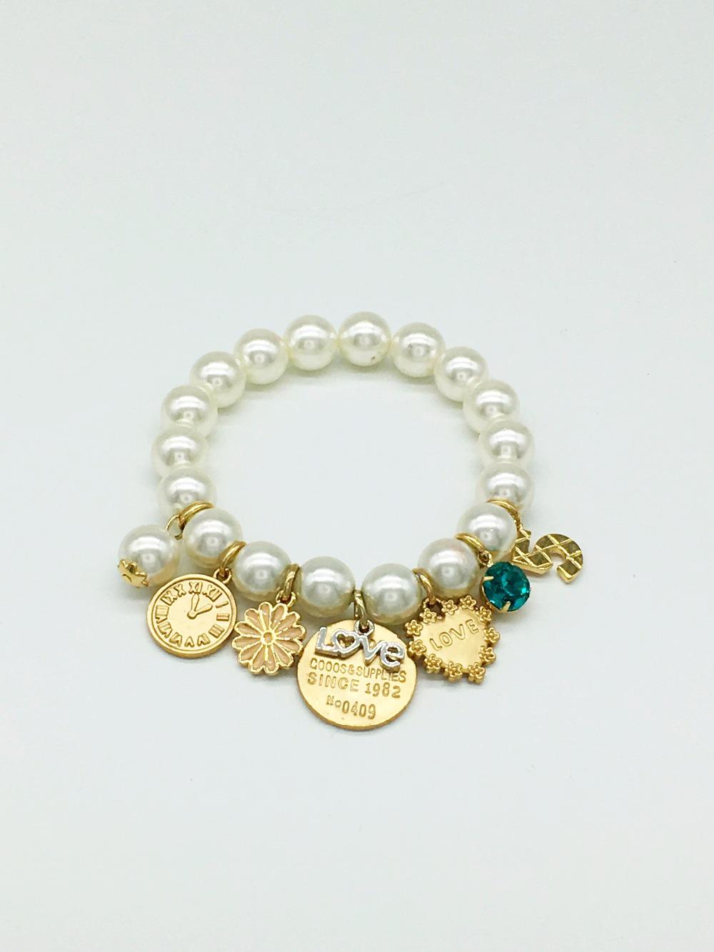 New Design Fashion Elegant Charm Daisy Rhinestone Pendant Simulated Pearl Bracelet Statement Wholesale(China (Mainland))
