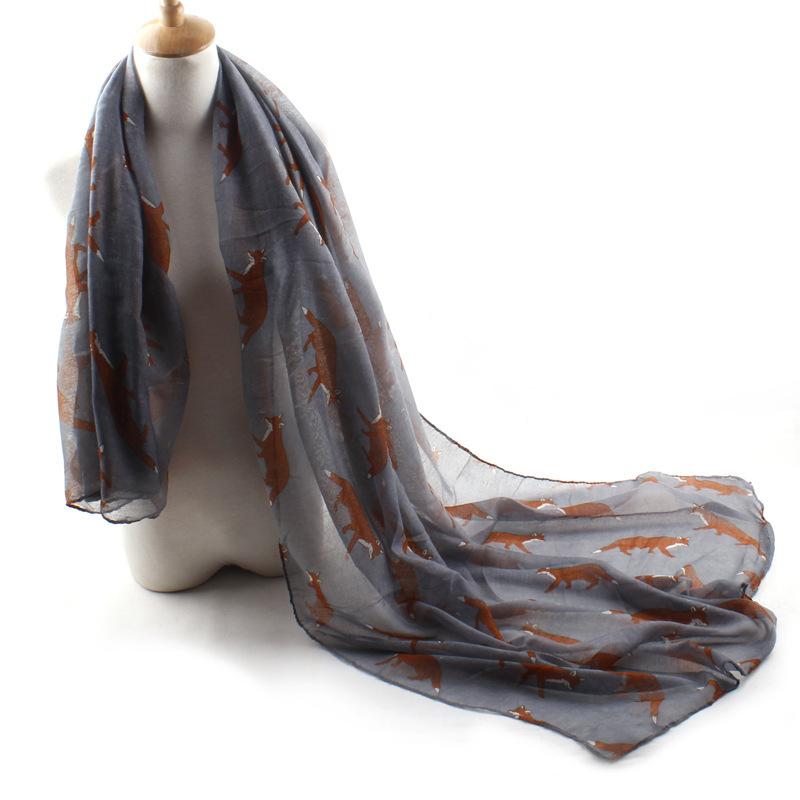 180*90cm,2015 Brand New European Woman Fox Print Retro Chiffon Scarves Ladies Long Pastoral Wrap Beach Scarf Voile Shawl By35(China (Mainland))