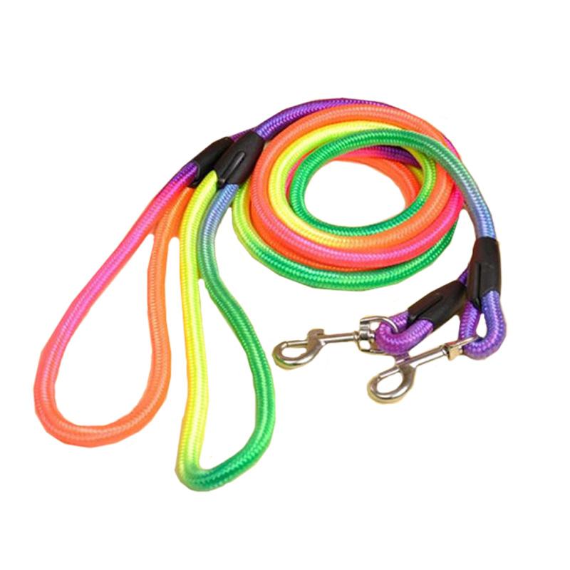 Hot New Nylon Pet Dog Lead Collar Walking Slip Rope Strap pet supplies Strong Training Leash Rainbow(China (Mainland))