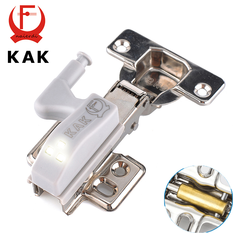 KAK Stainless Steel Hydraulic Hinge With Copper Damper Buffer Cabinet Cupboard Kitchen Door Hinges With 0.25W LED Sensor Light(China (Mainland))