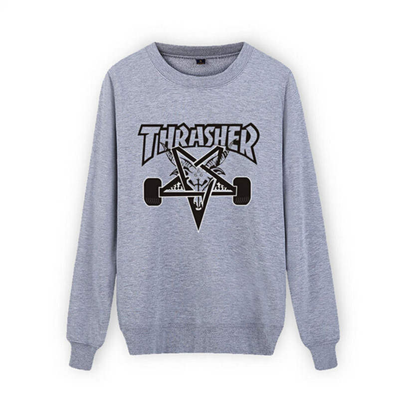 New fashion men streetwear clothes skateboard black hoodie graphic hip hop pullover hoodies Brand thrasher sweatshirts men tops(China (Mainland))