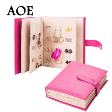 2016 New Design Jewelry Boxes And Packaging Pu Leather Stud Earrings Collection Book Creative Jewelry Display Jewellery Gift Box(China (Mainland))