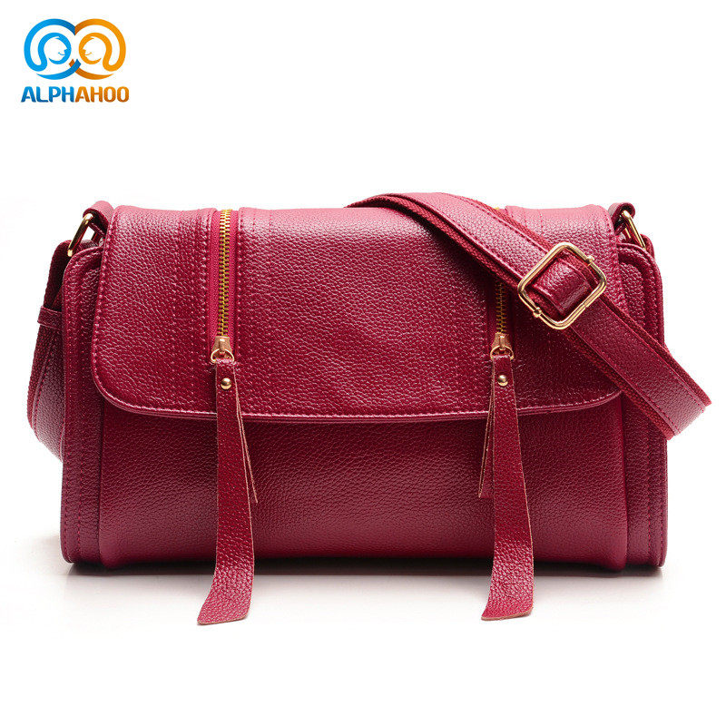 Zipper Tassel Women Messenger Bag Fashion Genuine Leather Soft Crossbody Bags Practicality Woman Shoulder Bag   <br><br>Aliexpress