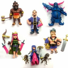 8pcs\set Clash Of Clans figures PVC toys Witches King Pekka Archer Queen model Figura Figure Xmas hog rider COC figure model(China (Mainland))