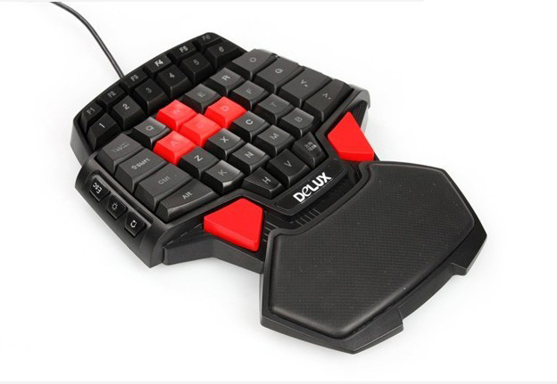 New Arrival Delux T9 FPS Single Hand gaming keyboard USB LED Backlit Professional Gaming Accessoriess free shipping(China (Mainland))
