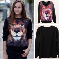 2014 New Arrival Women Pullover 3d Lion Head Pattern Print Stitching Sweater Ladies Long Sleeve Loose Coat With Plus Size nz54