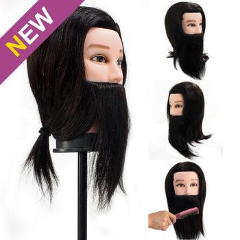 14 дюйма Мужской Парикмахерские Резки Styling Обучение Голова Манекена 100% Настоящие Волосы 9 inch Борода Черный Бесплатный Зажим B10