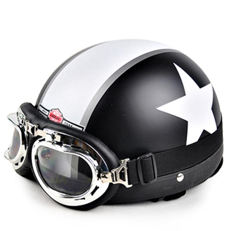 2016 Hot Sell New Unisex Vespa Open Face Half Motorcycle Motorbike Helmet & Goggles & Visor Scooter Ride Helmet Capacete(China (Mainland))
