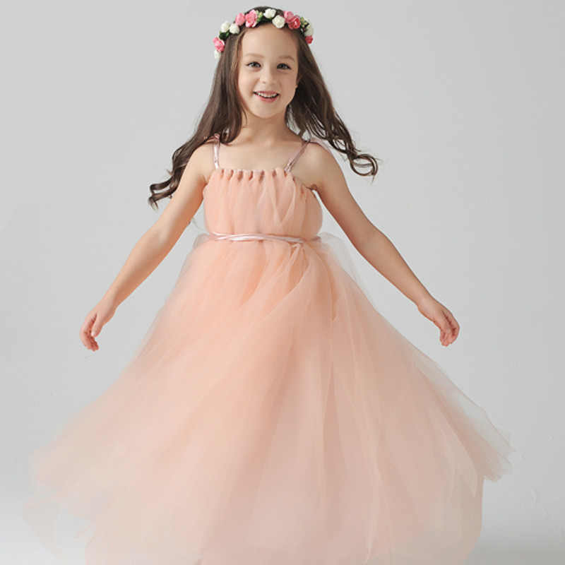 Grace Lace Spaghetti Strap Flower Girl Dress Vestido De Daminha Puffy Tulle with Crystal Straps Little Girls Pageant Gown Gown <br><br>Aliexpress