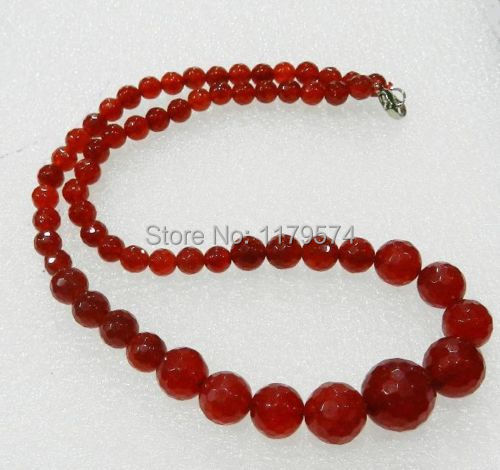 "Woman long jewerly new fashion free shipping charming 6-14mm Faceted Red Ruby Round Beads Jewelry Necklace 18"" W00141(China (Mainland))"