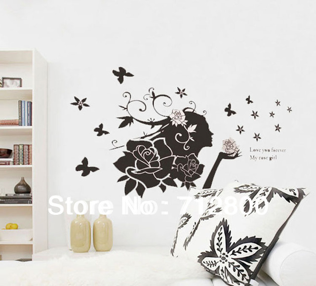 Free Shipping Rose Girl Butterflies Wall Sticker/Romantic Flower Wall Sticker/Wall Decals Vinyl stickers For Bedroom 60*90CM