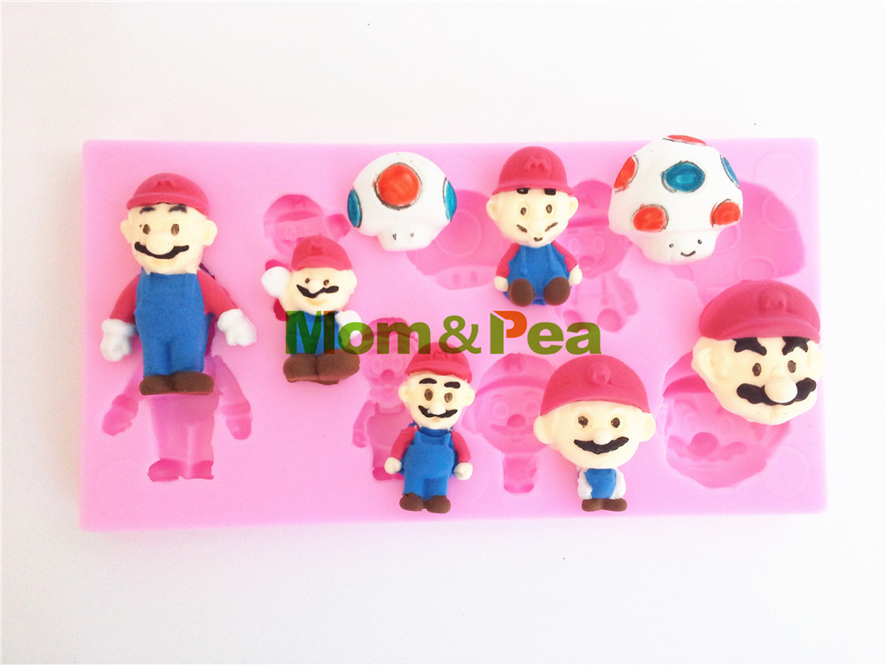 Mom&Pea 0356 Free Shipping Super Mario Shaped Silicone Soap Mold Cake Decoration Fondant Cake 3D Mold Food Grade Silicone Mould(China (Mainland))
