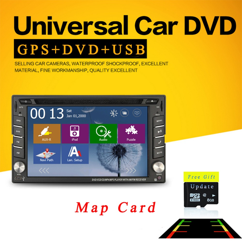 Car radio stereo GPS Navigation DVD Player 6.2 inch Double 2 DIN In Dash Headunit Radio Player Car Audio Bluetooth+Map Card(China (Mainland))