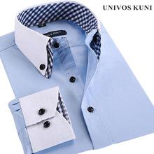 French Cuff Button Mens Dress Shirt 2015 New Fashion Non Iron Long Sleeve Slim Plaid High Quality Business Formal Shirts FHY93