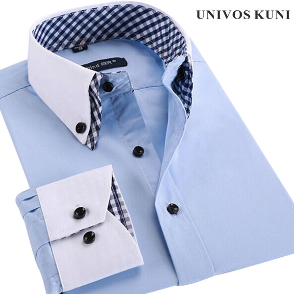 Men Shirt Plaid French Cuff Button Mens Dress Shirts Social Fashion Non Iron Long Sleeve Slim Business Formal shirt 4XL FHY93(China (Mainland))