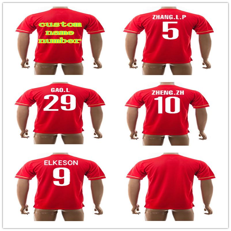 New Hot Sale Top Thai Quanlity Guangzhou Evergrande Soccer Jerseys 15 16 Club Football Shirt Home Player Custom Red Shirts(China (Mainland))