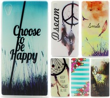 For Sony Xperia M4 Case E2303 E2333 E2353 Ultra Thin TPU Cover Embossed Painting Soft Silicone Phone Case For Sony M4 Aqua]