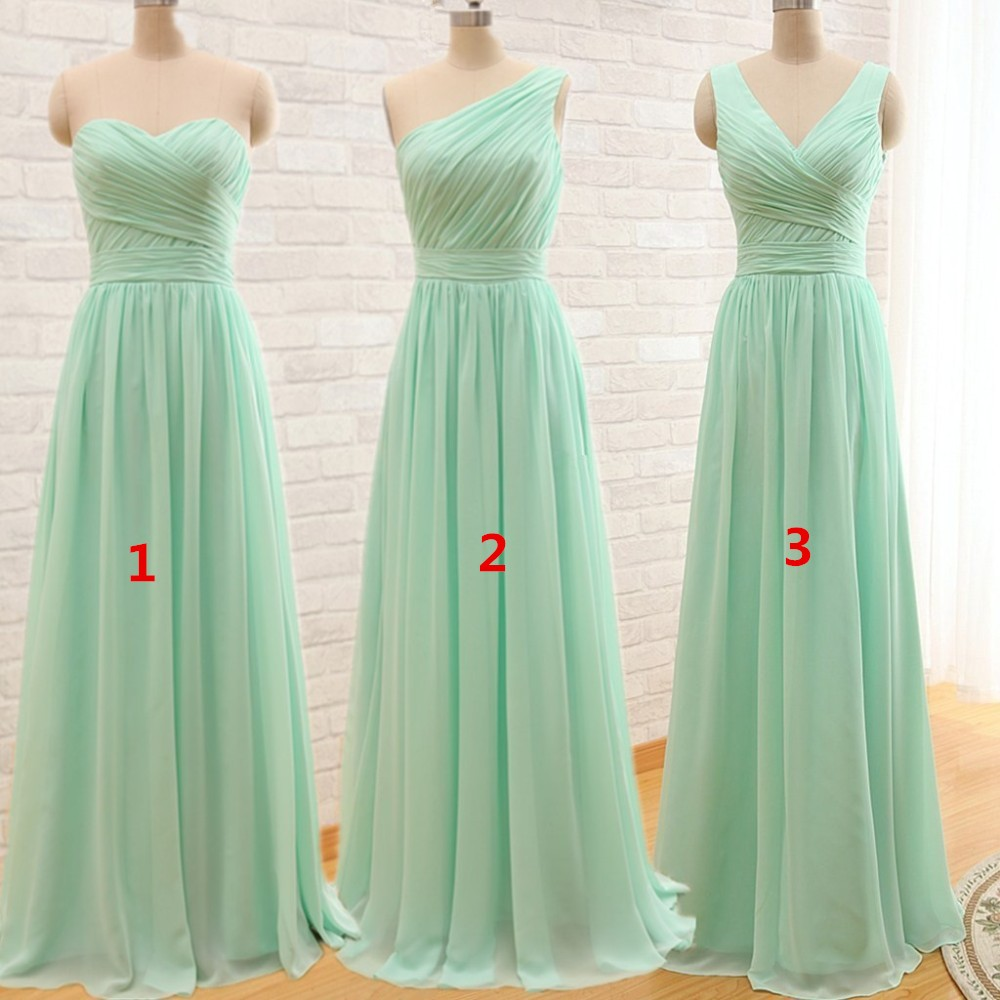 2016 long cheap mint green bridesmaid dresses under 50 for Cheap chiffon wedding dresses