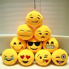 Cute Phone Strap Emoji Emoticon Key Ring Yellow Cushion Stuffed Plush Soft Toy Doll Key Chains Bag Squishy Christmas Z1705(China (Mainland))