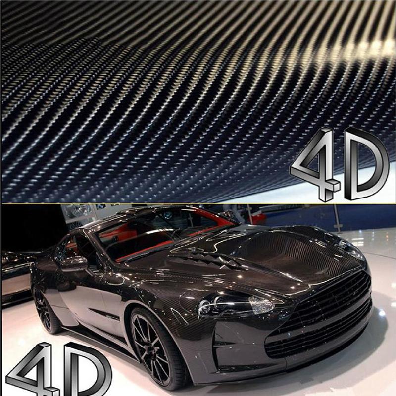 10cm*127cm 4D Carbon Fiber Fibre Vinyl Film 3M Car Sticker Waterproof DIY Car Styling Wrap With Retail packaging(China (Mainland))
