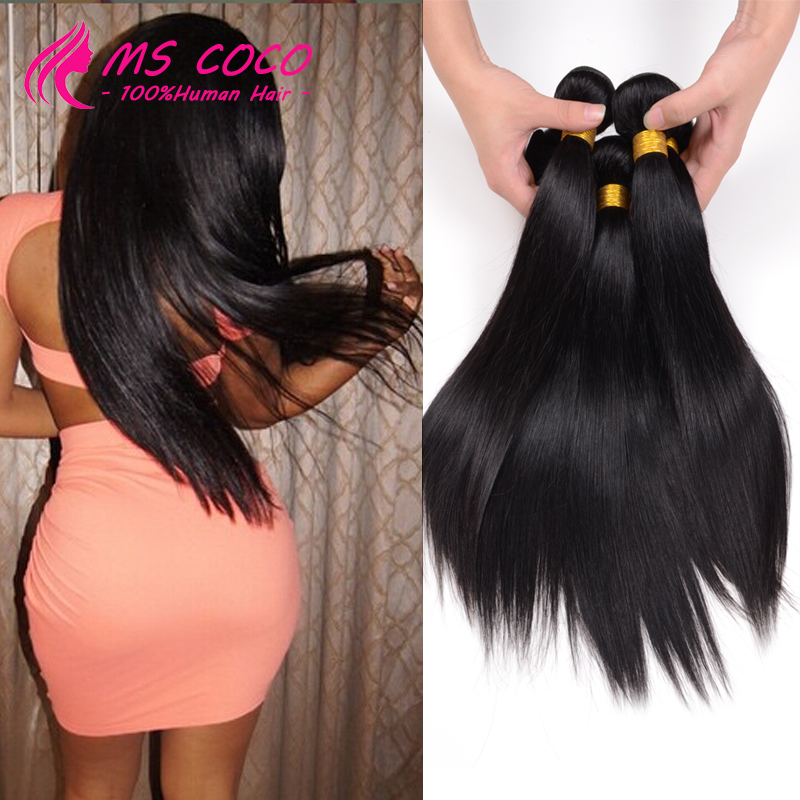 Brazilian Hair Weave Bundles 7A Brazilian Virgin Hair Straight 4 Pcs Lot Ms Lula Hair Unprocessed Virgin Brazilian Straight Hair(China (Mainland))