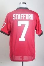 Cheap Wholesale College Football Jerseys #7 Matthew Stafford Red C Patch Football Shirts 2015 New High Quality Stitched Jersey(China (Mainland))