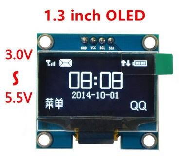 1.3 inch oled white display with 4PIN 4-SPI(default)/I2C Drive IC SH1106(China (Mainland))