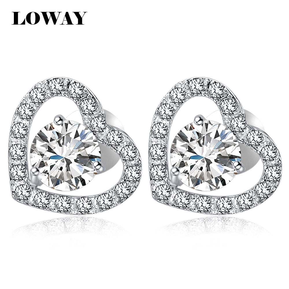 LOWAY Platinum Plated Stud Earring Women Fashion Cute Heat Cubic Zirconia Romantic Gift ED2856 - Jewelry Factory Store store
