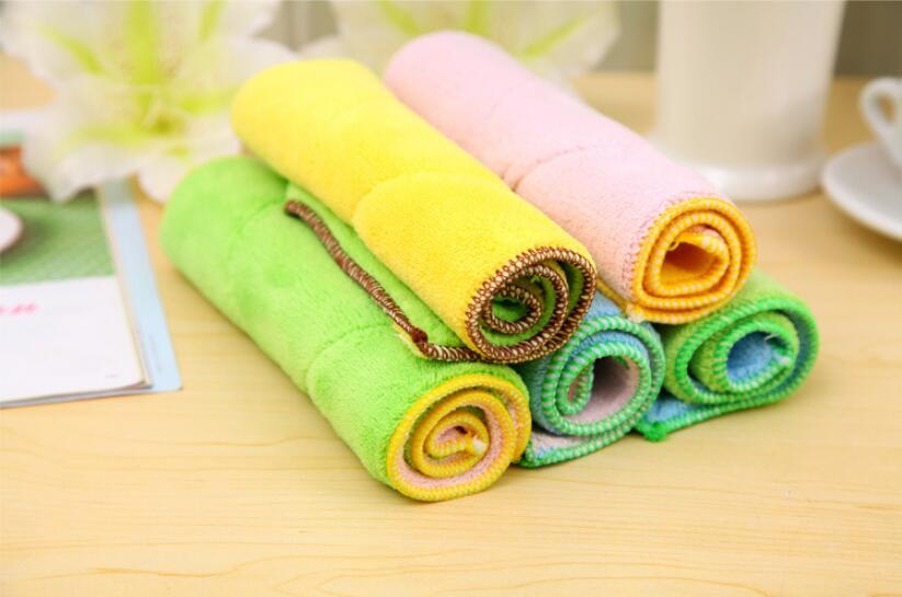 3pcs Cleaning Cloths two-sided two-tone oil wash cloth kitchen furniture floor wipe car multifunctional dishclout 25*17cm(China (Mainland))