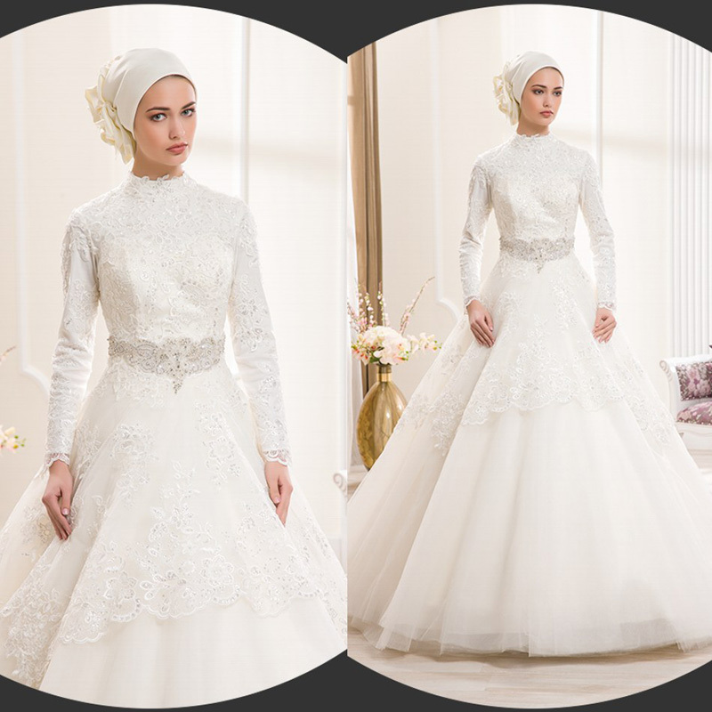 Muslim long sleeve wedding dresses gowns ideas for Muslim wedding dress photo