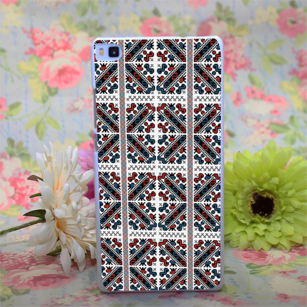 Traditional Deco Design White Hard Case Cover for Huawei Ascend P6 P7 P8 P8 lite(China (Mainland))