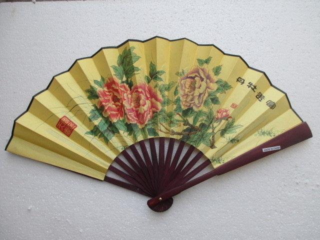 Chinese painting flowers silk fan art paper hand(China (Mainland))