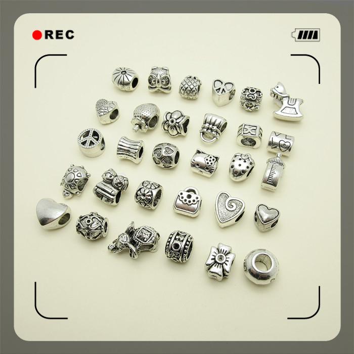 Mixed 60pcs Tibetan Silver Bead Charms big hole Loose Beads European pendant fit Pandora charm bracelet