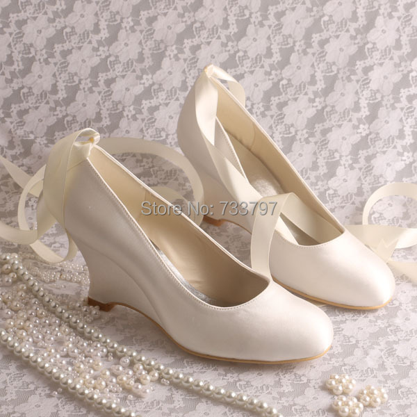 Wedopus Dropshiping Ivory Satin Wedge Heels Pumps Wedding Shoes Bridal With Ribbon In Womens