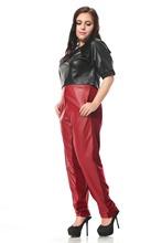 Casual High waist Women' PU Patchwork pants & capris office Trousers harem pants(China (Mainland))